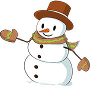 Snowman - winter season coloring pages for kids